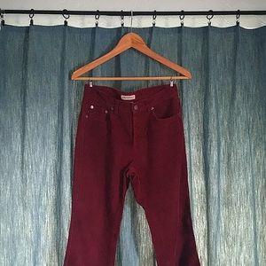 Burgundy Corduroy Boot-Cut Pants